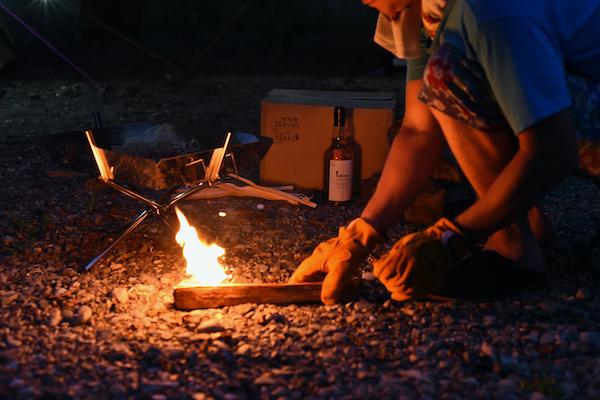 火口に火がついたら、火を焚き火台に移す